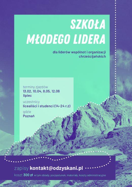Plakat Szkoły Młodego Lidera, przedstawiający górskie szczyty w niebiesko-zielonej tonacji.